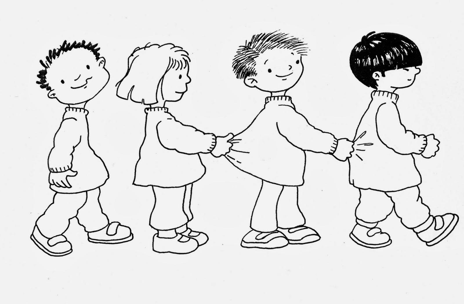 Imágenes de Niños en fila para colorear e Imprimir | Material para ...