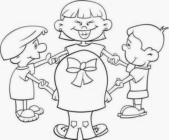 niños-jugando-en-circulo-para-colorear | Material para maestros ...