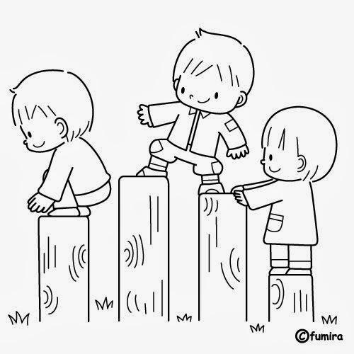 Imágenes De Niños En Fila Para Colorear E Imprimir Material Para