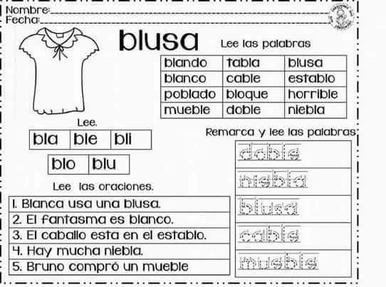 Dibujos Con La Trabada Br: Silabas Trabadas, Bla, Bra, Cla, Fla, Fra, Gla, Gra, Pla