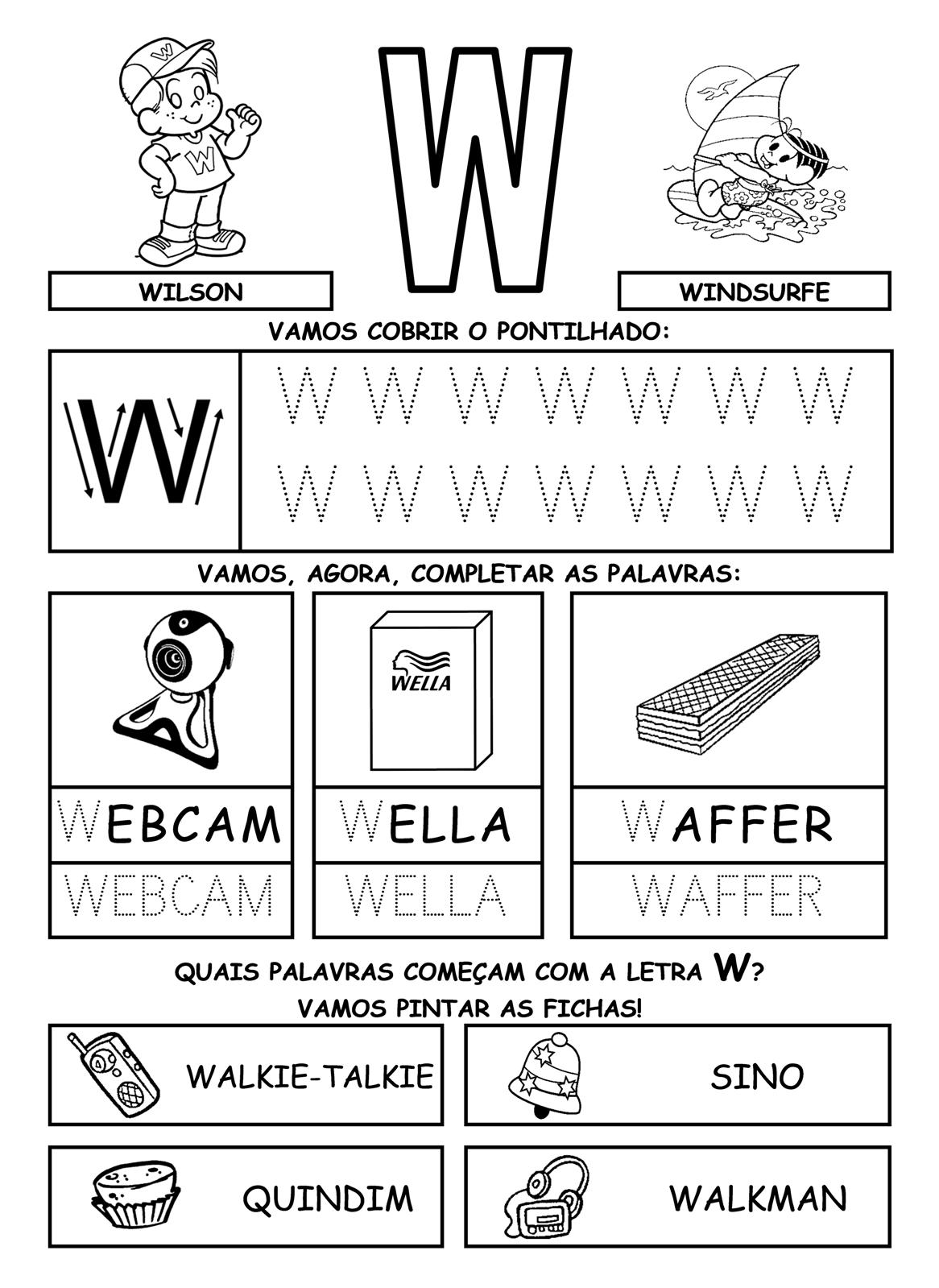 Figuras Y Formas Alfabeto Letra W Para Imprimir Y Delinear
