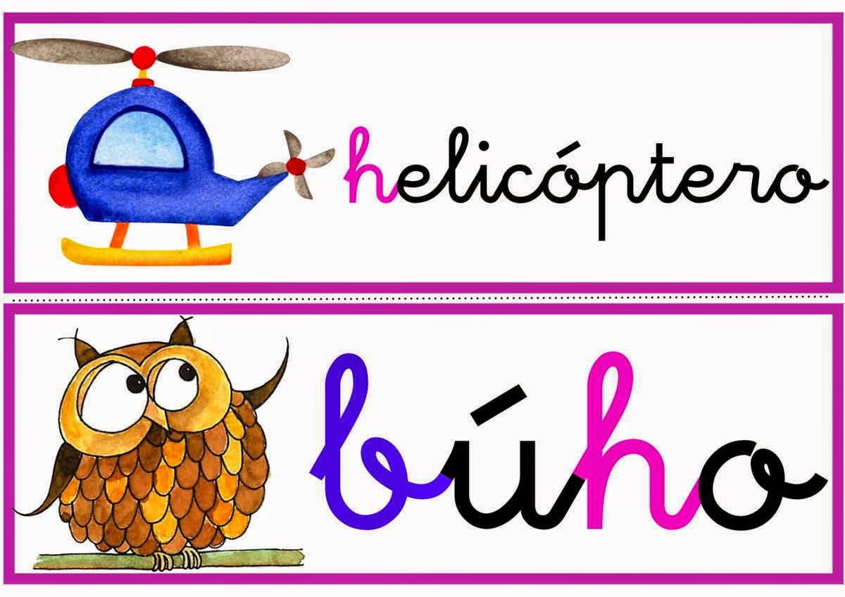 palabras e imágenes con h para imprimir material para maestros