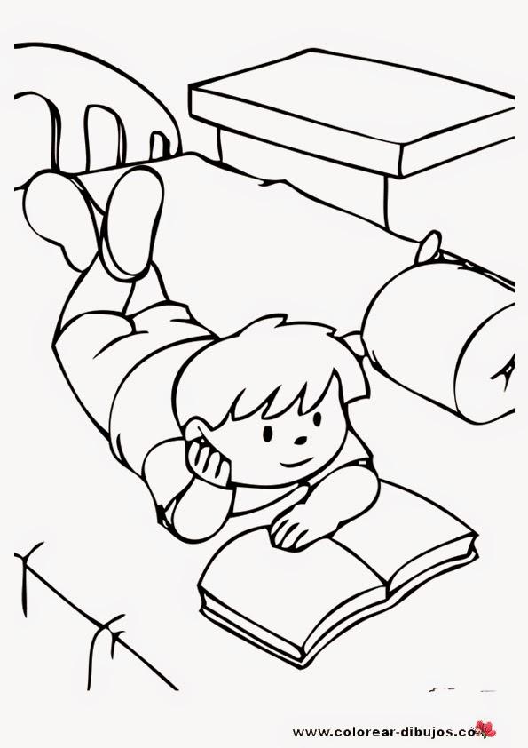 Dibujos De Niños Estudiando Para Colorear Material Para Maestros