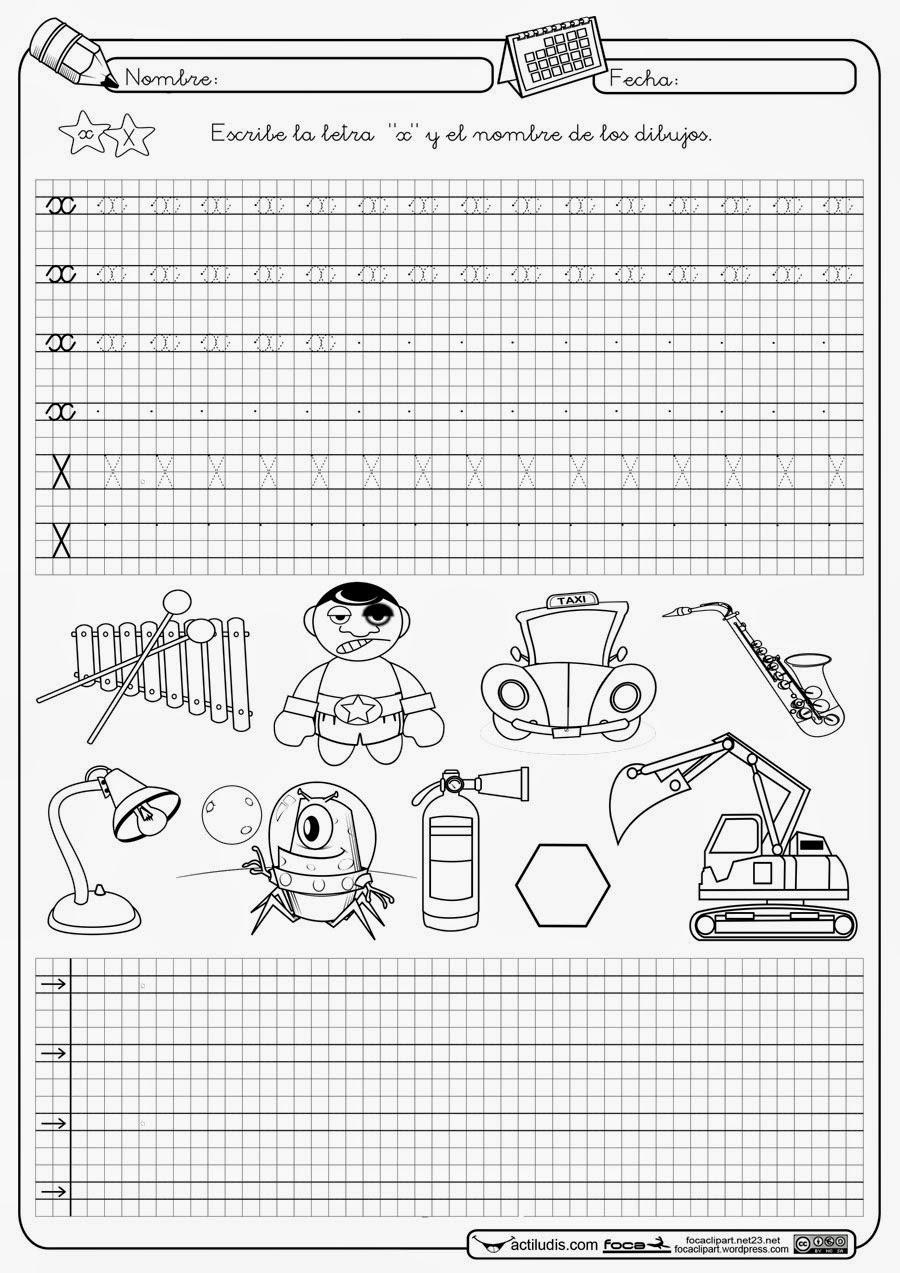Escribe La Letra X Y El Nombre De Los Dibujos Material Para