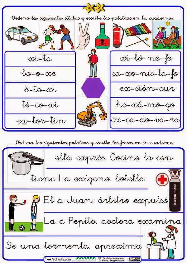 Palabras Y Frases Con X Lectoescritura Material Para Maestros