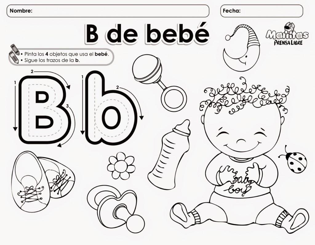 La letra B para colorear y delinear | Material para ...