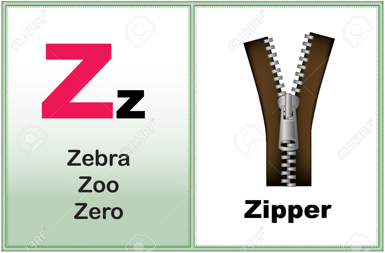 Alphabet letter Z with clip-art and few similar words starting with the letter printable graphic for preschool / kindergarten kids