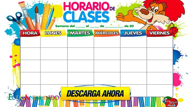 Modelo de horario escolar Editable | Material para maestros ...