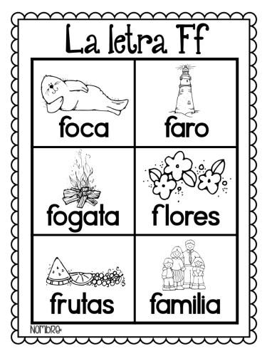 láminas-para-colorear-todas-las-palabras-del-alfabeto-F | Material ...