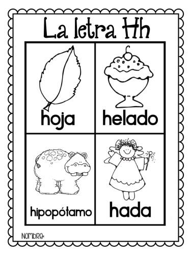 láminas-para-colorear-todas-las-palabras-del-alfabeto-H   Material ...