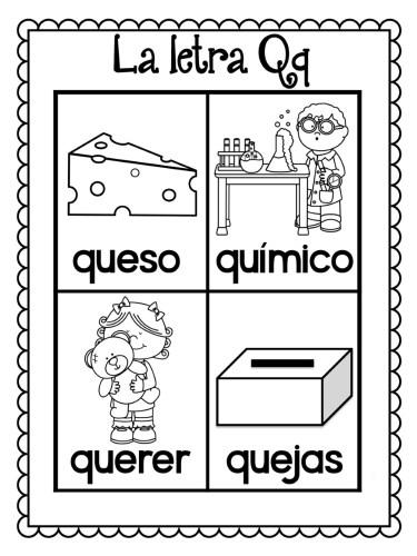 láminas-para-colorear-todas-las-palabras-del-alfabeto-Q | Material ...